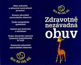 c967854bdf3 Dětská obuv se žirafkou – certifikát ITC Zlín. zdravotně nezávadná obuv